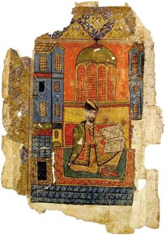 Shota Rustaveli, miniature from Vepkhistqaosani manuscript 15th-17th centuries, paper, 35x24 cm. GNM, Shalva Amiranashvili Museum of Fine Arts.