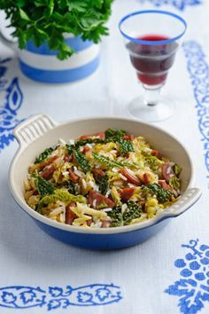 Savoy cabbage with chorizo, shallots and rice - looks really good