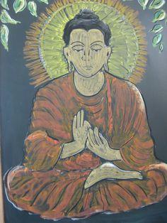 Buddha chalk drawing India Waldorf