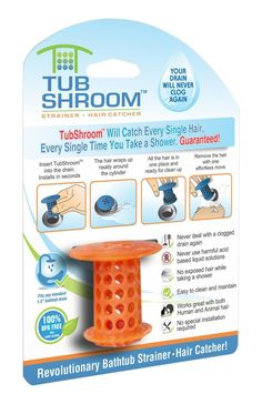TubShroom™ (Orange) The Hair Catcher That Prevents Clogged Drains