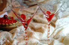 Abstract Modern Hand Blown Cocktail Glasses Set of 2 Red Swirl Blown Zigzag Stems Art Drinkware