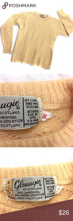 "Vintage Scottish Wool Blend Sweater Creamy Peach Length 20"".  Underarm to underarm 16"". 60% lambswool 20% angora 20% nylon  Vintage Glenugie of Scotland crew-neck sweater in a rich, creamy peach color.  This is tagged as a size 36; please see the measurements to ensure a great fit. Vintage Sweaters Crew & Scoop Necks"