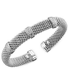 Diamond X-Accent Mesh Necklace in Sterling Silver (3/8 ct. t.w.) - Necklaces - Jewelry & Watches - Macy's