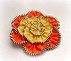 Flower Brooch orange and yellow fresh summer  by ZipperDesign