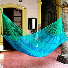 Hand-woven Large Deluxe Cool Lagoon Hammock (Mexico) | Overstock.com Shopping - Great Deals on Novica Hammocks/Swings