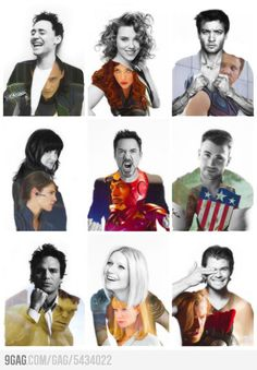 Tom Hiddleston, Scarlett Johansson, Jeremy Renner, Cobie Smulders, Robert Downey Jr, Chris Evans, Mark Ruffalo, Gwyneth Paltrow & Chris Hemsworth | The Avengers ... very pretty fanart!