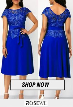 Cap Sleeve Tie Waist Lace Panel Dress rosewedress is part of pencil-drawings - pencil-drawings Latest African Fashion Dresses, African Dresses For Women, African Attire, Women's Fashion Dresses, Trendy Dresses, Short Dresses, Cute Dress Outfits, Lace Dress Styles, Dress Neck Designs