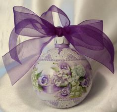 Hand Painted Christmas Ornament Cottage Chic Purple Rosebud Shabby Lace