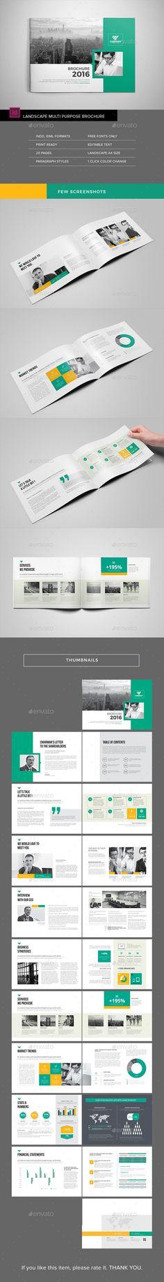 Multipurpose Landscape Brochure — InDesign INDD #brochure #bi-fold • Download ➝ https://graphicriver.net/item/multipurpose-landscape-brochure/18442395?ref=pxcr
