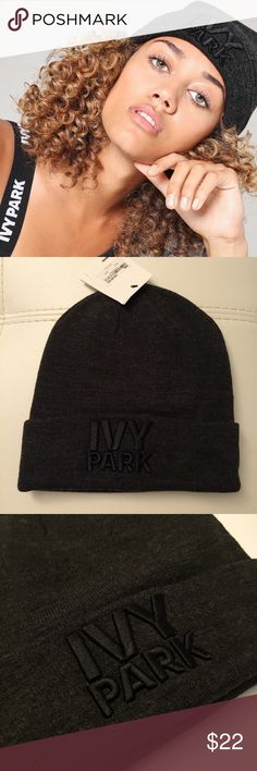 IVY PARK   Thermal Logo Beanie This winterproof edition of the Ivy Park logo beanie was designed for building heat when you decide to take your workout session outdoors this season. In a thermal ribbed knit, its monochrome look is also optimal for achieving your sports luxe fashion goals.   95% Acrylic, 4% Nylon,1% Elastane. Machine wash.  Brand new with tags on, in perfect condition ✨  All my items come from a smoke and pet free home 🙅  No trade please 🚫 Bundle for discount! 😘 IVY PARK…