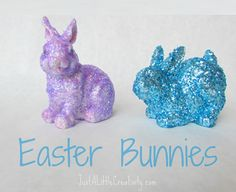Mod Podge Glitter Easter Bunnies with dollar store plastic/ceramic bunnies