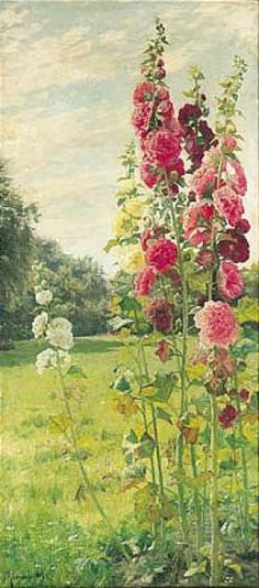 Peder Monsted: Hollyhocks, 1895
