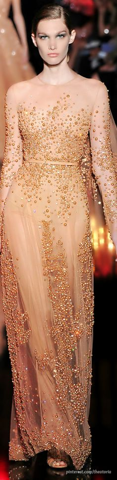 White and Gold Wedding. Gold Bridesmaid Dress. Soft and Romantic. Elie Saab ● Haute Couture FW 2014-2015. #HauteCouture