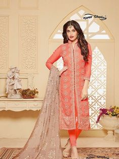 #orange  #palazzo  #embroiderydesigns #georgettesuits   embroidered dress   grey chiffon dupatta   full sleeves   party wear   occasional wear   palazzosantoon  