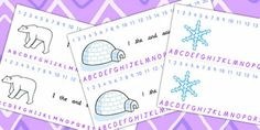 Arctic Themed Alphabet and Number Strips - arctic, arctic themed, alphabet, number, alphabet strips, number strips, a-z, a-z strips, tracks, lines