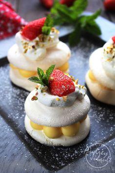 Minis Pavlovas Citron Fraise, citron , fraise, meringues, pavlovas, pavlova,chantilly, vanille