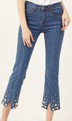 Blue Split Cuff Faux Pearl Embellished Cropped Jeans a7d87f4eaba