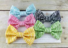 Broken Stripes Set of 5 SMALL Bow Hair Clips or by RubyandSue