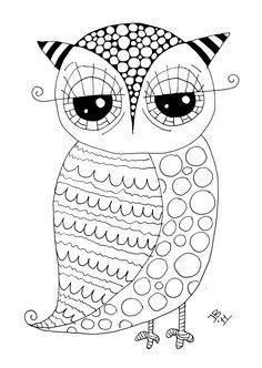 Use as basic outline then tangle (like my ZIA hummingbird) Free owl! Her website is awesome! You may need to translate, though. Check out her home decor -- It's owl-a-licious! Owl Coloring Pages, Printable Coloring Pages, Coloring Pages For Kids, Coloring Sheets, Coloring Books, Owl Crafts, Owl Art, Digi Stamps, Doodle Art