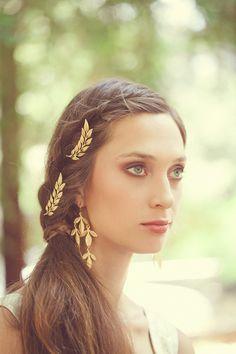 Gold Leaf Bridal Bobby Pins Bridal Hair Pins by EchoandLaurel