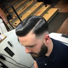 """931 Likes, 16 Comments - Simon Harvey (@mrsimonharvey) on Instagram: """"Bald fade Side Part. Supershined by @layriteofficial @strapper205 #Pompoholics #barbers…"""" #menshairstylessidepart"""