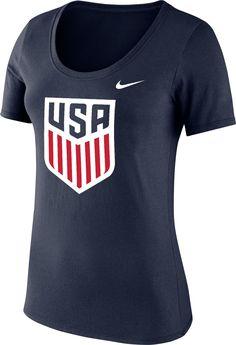 f6358eb96 Nike Women s USA Soccer Crest Navy Heathered Scoop Neck T-Shirt