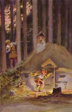 """Rumpelstilzchen"" - Illustration zu Grimms Märchen, von Professor Paul Hey, Maler, Grafiker und Illustrator (19.10.1867 in München - 14.10.1952 Gauting) Rumpelstiltskin, Brothers Grimm, Vintage Fairies, Blue Fairy, Fairytale Art, Woodland Creatures, Book Illustration, Disney Art, Professor"