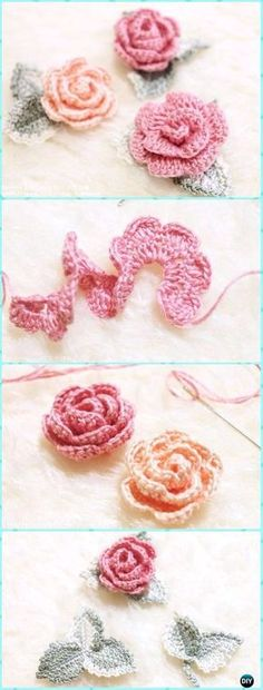 Crochet 3D Rose Flower with Leaf Free Pattern & Diagram - Crochet 3D Rose Flower Free Patterns Rosa Crochet Patron, Crochet Roses, Crochet Bouquet, Knit Flowers, Rosas Crochet, Crochet Puff Flower, Crochet Leaves, Flower Applique, Fleur Crochet