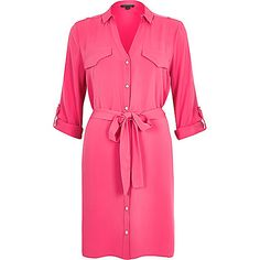 Nail your on and off duty style with our new collection of women's dresses. River Island, Pink Long Sleeve Dress, Dress Long, Ribbed Dress, V Neck Dress, Bright Pink, Womens Fashion, Ladies Fashion, Shirts