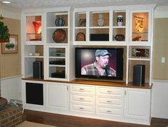 Custom Cabinets - Entertainment Center - Media TV Center - traditional - family room - dc metro - by Contemporary Woodcrafts, Inc. Custom Entertainment Center, Entertainment Center Kitchen, Entertainment Units, Tv Cabinets, Custom Cabinets, Display Cabinets, White Cabinets, Tv Center, Media Center