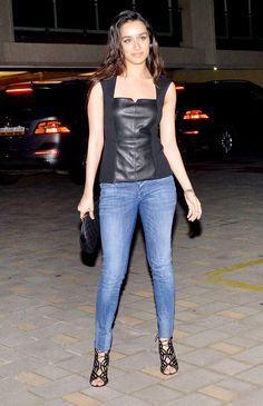 Shraddha Kapoor at Arpita Khan's birthday bash. #Bollywood #Fashion #Style #Beauty #Denim
