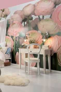 Wallpaper pattern with floral motifs - beautiful wall design ideas - Decoration Solutions Wallpaper Decor, Print Wallpaper, Photo Wallpaper, Decor Pad, Wall Decor, Wall Art, Spiegel Design, Floral Pattern Wallpaper, Home Decor Trends