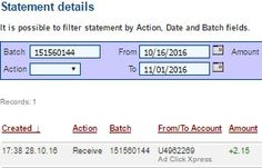 AD CLICK EXPRESS - ACX is the best ONLINE OPPORTUNITY for you.I WORK FROM HOME less than 10 min.Here is my WITHDRAWAL PROOF from AdClickXpress. I GET PAID DAILY and I can WITHDRAW DAILY and here is PROOF of my latest withdrawal. ONLINE INCOME is possible with ACX, who is definitely paying!THIS IS NOT A SCAM and I love MAKING MONEY ONLINE with AD CLICK XPRESS. Join for FREE and get 20$+10$ + 5$ Monsoon, Ad and Media value packs from ACX.My #35 Withdrawal Proof from AdClickXpress 28.10.2016.