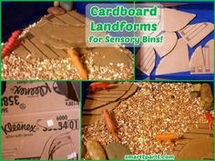 Add some dimension to a sensory bin with these cardboard landforms!