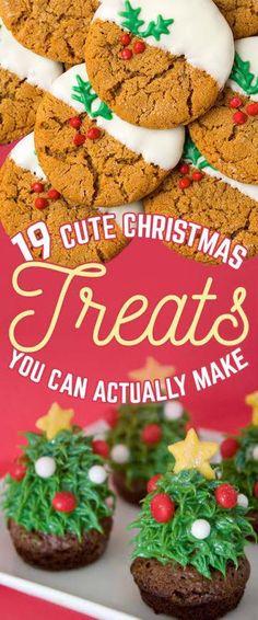 19 Amazingly Cute Ideas For Christmas Treats That You Can Actually Make Oreo Truffles Christmas, Christmas Tree Brownies, Christmas Snacks, Christmas Cooking, Christmas Goodies, Christmas Candy, Holiday Treats, Holiday Recipes, Xmas