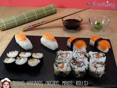 Cómo hacer sushi fácil en casa: makis, nigiris y california rolls Sushi Comida, Sushi Love, Party Time, Rolls, Cooking, Ethnic Recipes, California, Food, Barbacoa