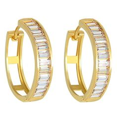 EVER FAITH 925 Sterling Silver CZ Channel Setting Baguette GoldTone Huggie Hoop Earrings Clear *** Continue to the product at the image link.
