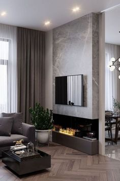 91 comfy living room design ideas with fireplace 5 Home contemporary fireplace Small Living Room Design, Living Room Grey, Home Living, Living Rooms, Luxury Living, Cool Living Room Ideas, Living Area, Modern Contemporary Living Room, Living Room Modern
