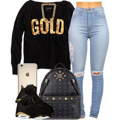 A fashion look from January 2015 featuring MCM backpacks and Balenciaga necklaces. Browse and shop related looks. Swag Outfits For Girls, Cute Swag Outfits, Couple Outfits, Teenager Outfits, Teen Fashion Outfits, Trendy Outfits, Girl Outfits, School Outfits, Black And Gold Outfit