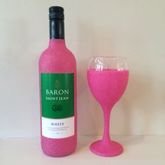 Glitter Wine Bottle with Glitter Glass #hotpink