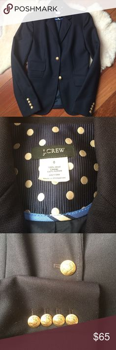 J. Crew Wool Schoolboy Blazer Size 0 Excellent condition, worn only twice. 100% wool, gold details. Size 0, runs true to size. J. Crew Jackets & Coats Blazers