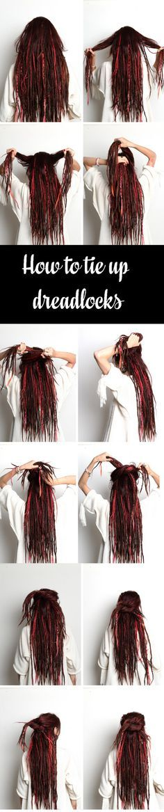 How to tie up dreadlocks | Dreadstuff This is a step by step instruction on how you can do the most simple dreadlock updo by just making a simple tie. Folow the link to see the full tutorial with a video etc.
