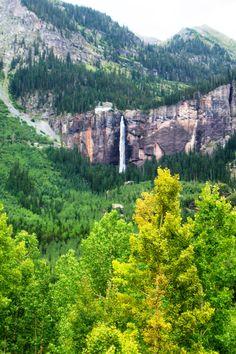Bridal Veil Falls is a 365 foot waterfall overlooking Telluride, Colorado.
