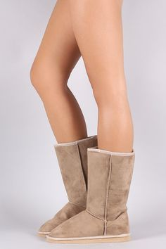 Suede Faux Shearling-Lined Mid-Calf Flat Boots Bearpaw Boots, Ugg Boots, Flat Boots, Mid Calf Boots, Uggs, Flats, Heels, Fashion, Loafers & Slip Ons