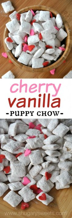 Cherry Vanilla Puppy Chow- easy, delicious puppy chow with cherry gelatin #valentines #puppychow