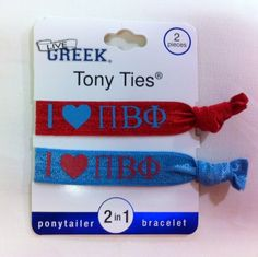 Sorority Hair Ties - Pi Beta Phi- These are great for Big/Little gifts