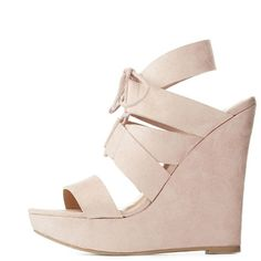 Wild Diva Lounge Lace-Up Wedge Sandals ($39) ❤ liked on Polyvore featuring shoes, sandals, nude, wedge shoes, bow sandals, slingback sandals, nude shoes and lace-up sandals