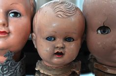 There's something very creepy about doll heads.