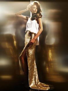 so glam. gold glitter maxi skirt