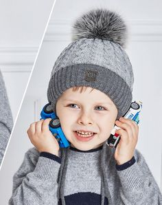 d0e57a57d45 Boy s Winter Knitted Hat With Fur Pompon